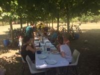 Tablée familiale dans le parc du séminaire